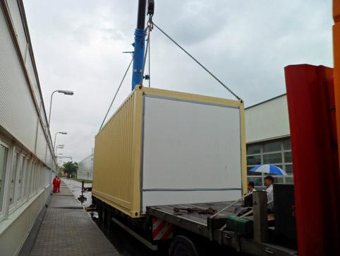 Transformer station in container